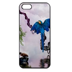 Wonderful Blue Parrot In A Fantasy World Apple Iphone 5 Seamless Case (black) by FantasyWorld7