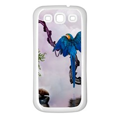 Wonderful Blue Parrot In A Fantasy World Samsung Galaxy S3 Back Case (white) by FantasyWorld7