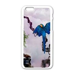 Wonderful Blue Parrot In A Fantasy World Apple Iphone 6/6s White Enamel Case by FantasyWorld7