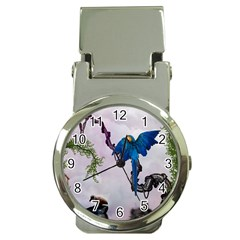 Wonderful Blue Parrot In A Fantasy World Money Clip Watches by FantasyWorld7