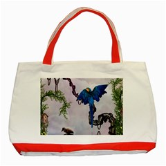 Wonderful Blue Parrot In A Fantasy World Classic Tote Bag (red) by FantasyWorld7