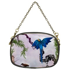 Wonderful Blue Parrot In A Fantasy World Chain Purses (two Sides)  by FantasyWorld7