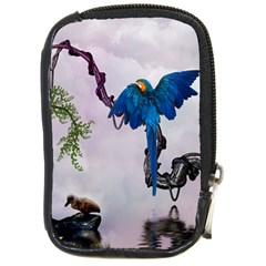 Wonderful Blue Parrot In A Fantasy World Compact Camera Cases by FantasyWorld7