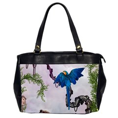 Wonderful Blue Parrot In A Fantasy World Office Handbags (2 Sides)  by FantasyWorld7