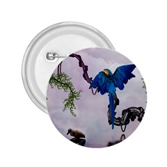 Wonderful Blue Parrot In A Fantasy World 2 25  Buttons by FantasyWorld7