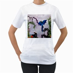 Wonderful Blue Parrot In A Fantasy World Women s T Shirt (white) (two Sided) by FantasyWorld7