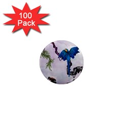 Wonderful Blue Parrot In A Fantasy World 1  Mini Magnets (100 Pack)  by FantasyWorld7