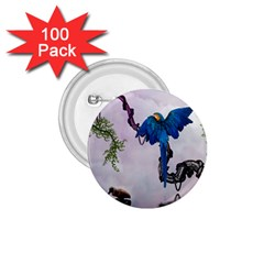 Wonderful Blue Parrot In A Fantasy World 1 75  Buttons (100 Pack)  by FantasyWorld7