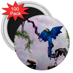 Wonderful Blue Parrot In A Fantasy World 3  Magnets (100 Pack) by FantasyWorld7
