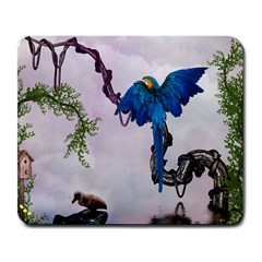 Wonderful Blue Parrot In A Fantasy World Large Mousepads by FantasyWorld7