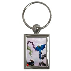 Wonderful Blue Parrot In A Fantasy World Key Chains (rectangle)  by FantasyWorld7