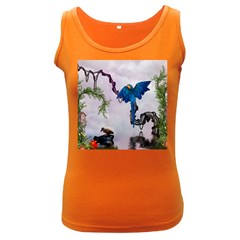 Wonderful Blue Parrot In A Fantasy World Women s Dark Tank Top by FantasyWorld7