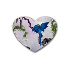 Wonderful Blue Parrot In A Fantasy World Rubber Coaster (heart)  by FantasyWorld7