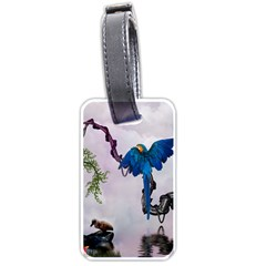 Wonderful Blue Parrot In A Fantasy World Luggage Tags (two Sides) by FantasyWorld7