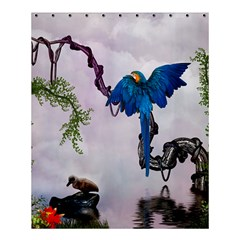 Wonderful Blue Parrot In A Fantasy World Shower Curtain 60  X 72  (medium)  by FantasyWorld7