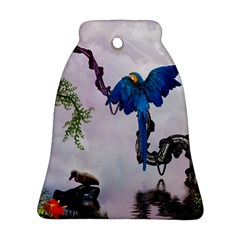 Wonderful Blue Parrot In A Fantasy World Ornament (bell) by FantasyWorld7