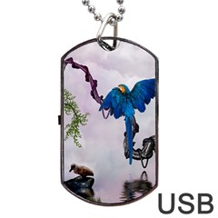 Wonderful Blue Parrot In A Fantasy World Dog Tag Usb Flash (two Sides) by FantasyWorld7