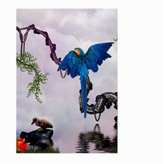 Wonderful Blue Parrot In A Fantasy World Large Garden Flag (two Sides) by FantasyWorld7
