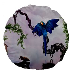 Wonderful Blue Parrot In A Fantasy World Large 18  Premium Round Cushions by FantasyWorld7