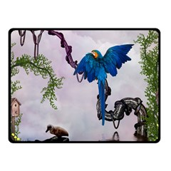 Wonderful Blue Parrot In A Fantasy World Double Sided Fleece Blanket (small)  by FantasyWorld7