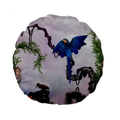 Wonderful Blue Parrot In A Fantasy World Standard 15  Premium Flano Round Cushions by FantasyWorld7