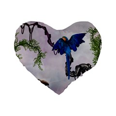Wonderful Blue Parrot In A Fantasy World Standard 16  Premium Flano Heart Shape Cushions by FantasyWorld7