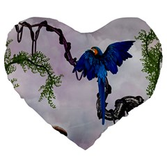 Wonderful Blue Parrot In A Fantasy World Large 19  Premium Flano Heart Shape Cushions by FantasyWorld7