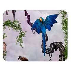 Wonderful Blue Parrot In A Fantasy World Double Sided Flano Blanket (large)  by FantasyWorld7