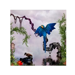 Wonderful Blue Parrot In A Fantasy World Small Satin Scarf (square)  by FantasyWorld7