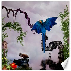 Wonderful Blue Parrot In A Fantasy World Canvas 12  X 12   by FantasyWorld7