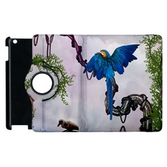 Wonderful Blue Parrot In A Fantasy World Apple Ipad 2 Flip 360 Case by FantasyWorld7