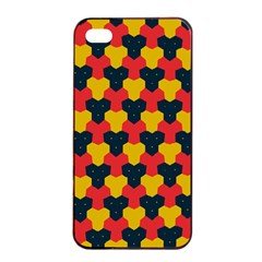 Red Blue Yellow Shapes Pattern       			apple Iphone 4/4s Seamless Case (black) by LalyLauraFLM