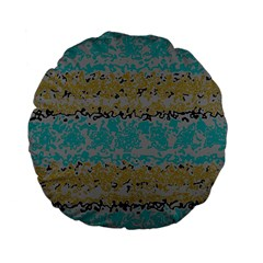 Blue Brown Waves       	standard 15  Premium Flano Round Cushion by LalyLauraFLM