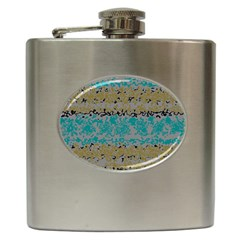 Blue Brown Waves       			hip Flask (6 Oz) by LalyLauraFLM