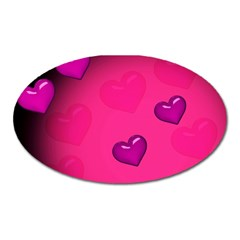 Pink Hearth Background Wallpaper Texture Oval Magnet by Nexatart