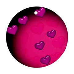 Pink Hearth Background Wallpaper Texture Round Ornament (two Sides) by Nexatart