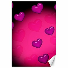Pink Hearth Background Wallpaper Texture Canvas 24  X 36