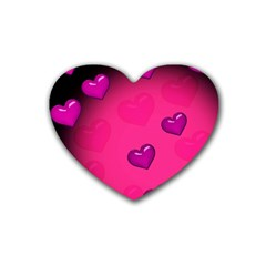 Pink Hearth Background Wallpaper Texture Rubber Coaster (heart)