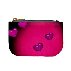 Pink Hearth Background Wallpaper Texture Mini Coin Purses by Nexatart