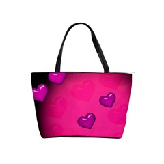 Pink Hearth Background Wallpaper Texture Shoulder Handbags by Nexatart