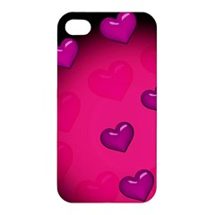 Pink Hearth Background Wallpaper Texture Apple Iphone 4/4s Premium Hardshell Case