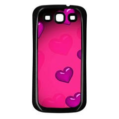 Pink Hearth Background Wallpaper Texture Samsung Galaxy S3 Back Case (black) by Nexatart