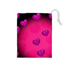 Pink Hearth Background Wallpaper Texture Drawstring Pouches (medium)