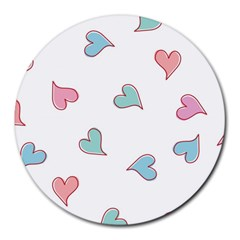 Colorful Random Hearts Round Mousepads by Nexatart