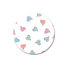 Colorful Random Hearts Magnet 3  (round) by Nexatart
