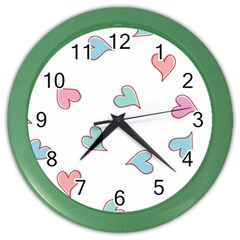 Colorful Random Hearts Color Wall Clocks by Nexatart