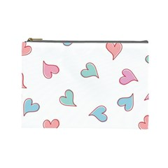 Colorful Random Hearts Cosmetic Bag (large)