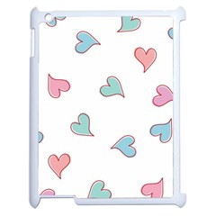 Colorful Random Hearts Apple Ipad 2 Case (white) by Nexatart