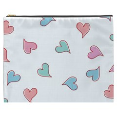 Colorful Random Hearts Cosmetic Bag (xxxl)  by Nexatart