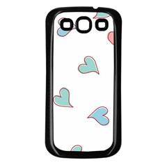 Colorful Random Hearts Samsung Galaxy S3 Back Case (black) by Nexatart